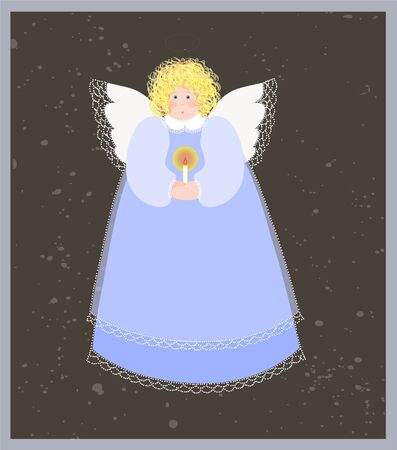 archangel: Christmas angel with a candle. Illustration
