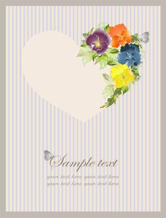 Cuore decorativo. San Valentino a mano tratte Biglietto di auguri. Biglietto di auguri con un mazzo di viole del pensiero.