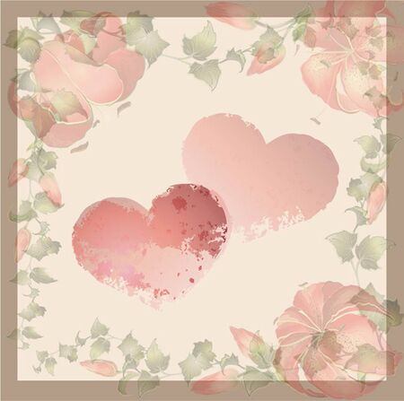 hearts background: Vintage greeting card with wild ivy and lily. Hand drawn valentines day greeting card.