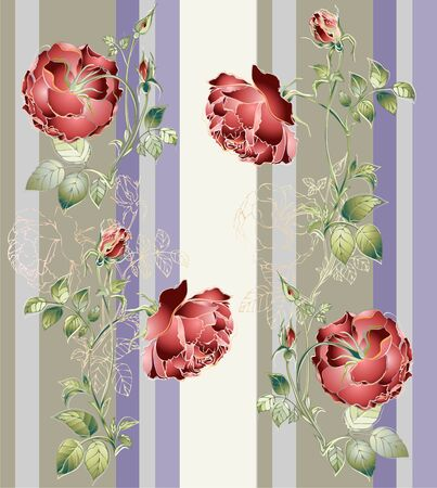 botanical gardens: Seamless background from a flowers ornament, fashionable modern wallpaper or textile. Illustration rose. Illustration