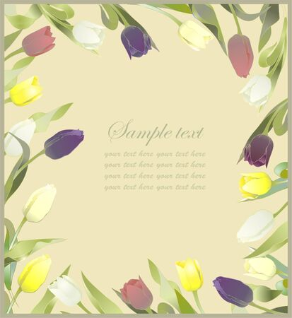 fresh flowers: Tulip flowers border. Greeting card with tulips. Colorful fresh spring tulips.