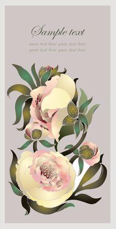 Greeting card with peony. Illustration peony. Beautiful decorative framework with flower. Illustration