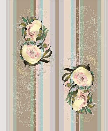 modern wallpaper: Seamless background from a flowers ornament, fashionable modern wallpaper or textile. Illustration peony. Illustration