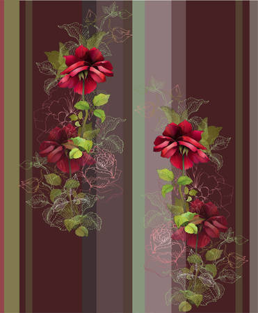 vintage rose: Seamless background from a flowers ornament, fashionable modern wallpaper or textile. Illustration rose. Illustration
