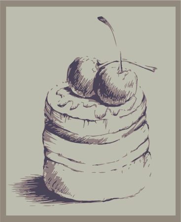 Illustrations of the cake. Menu. Illustration