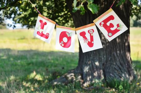 the word love from red letters hanging on the big tree in the summer Stock Photo