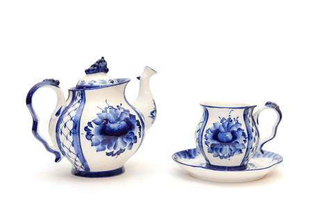 Beautiful original kettle and a cup and saucer blue and white Gzhel style Stok Fotoğraf