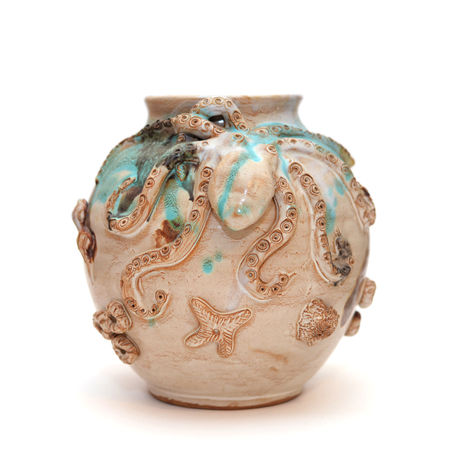 Original Round Clay Vase With An Octopus In A Marine Style Isolate