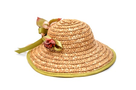 Women's straw summer hat with flowers, isolate on white background