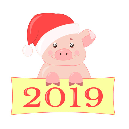 Vector pink cute piggy in the new years red hat smiles and congratulates on the new year 2019, isolate on white background