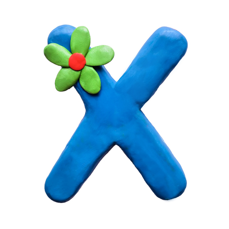 Blue plasticine letter X English alphabet with green flower, isolate on white background