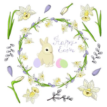 Set festivo sul tema della primavera e della Pasqua: ghirlanda, narcisi, crochi, salice, coniglio, uova su sfondo bianco