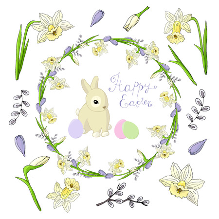 Festive set on the theme of spring and Easter: wreath, daffodils, crocuses, willow, rabbit, eggs on a white background