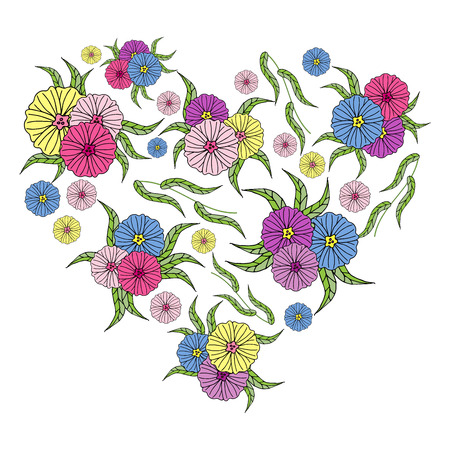 Beautiful vector heart of bright multi-colored flowers with green leaves in the style of dudling, isolate on a white background