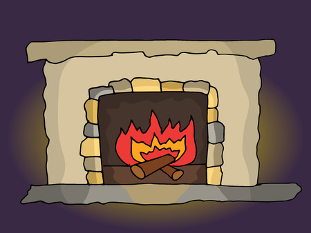 Vector old fireplace from a fairy tale with a burning fire in a dark room Ilustração