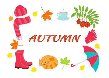 Vector set with the word AUTUMN, umbrella, yellow and orange leaves, rowan branch, cup of hot coffee, gloves, rubber boots, hat and scarf, sleeping cat, on a white background