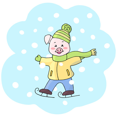 Vector small funny cute piggy in winter hat, scarf, jacket, skating in winter. Symbol of 2019 new year on the eastern calendar. Ilustracja