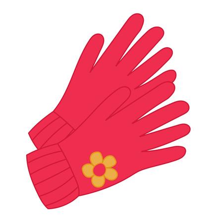 Herbstrote gestrickte Damen- oder Kinderhandschuhe mit Blume