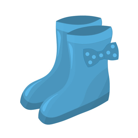 Autumn blue rubber boots with bow for women or girls Illusztráció