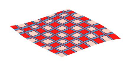 Manta de picnic a cuadros sobre fondo blanco.