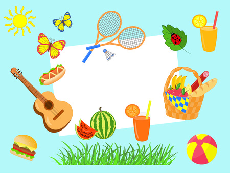 Vector set picnic with copy space: paper sheet, basket, badminton, guitar, watermelon, burger, hot dog, juice, ball, butterfly on blue background