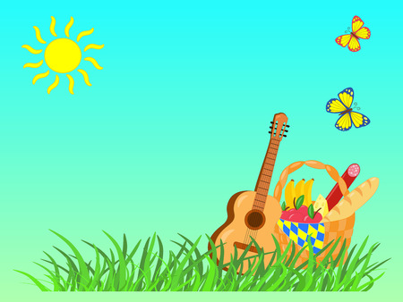 Vector summer picture with picnic: grass, food basket, guitar, sun, butterflies