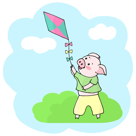 Vector cheerful, cute pig in a green t-shirt and yellow pants launches a kite into the sky when it became warm and sunny outside. Symbol of 2019 new year.