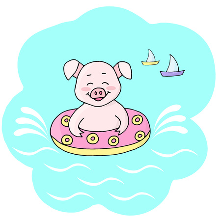 Vector happy cute pig swimming in the sea in a rubber ring on holiday. Symbol of 2019 new year.