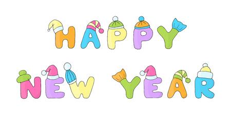벡터 문구 HAPPY NEW YEAR는 흰색 바탕에 겨울 크리스마스 모자에 아이들의 재미있는 편지를 썼습니다.