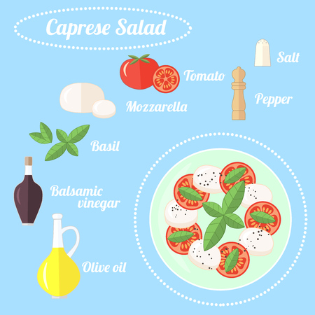 Caprese, traditional italian salad and its ingredients: tomatoes, mozzarella, Basil leaves, balsamic vinegar, olive oil, pepper, salt. Flat vector