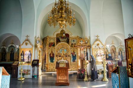Russia, Kazan, Sedmiozernaya bogoroditskaya desert, November 1, 2018: Orthodox Church inside