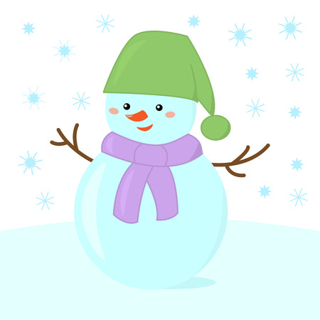 Cheerful snowman in a green hat and a purple scarf enjoys snowfall on a winter day