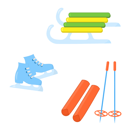 Vector skis, skates and sledge for winter games on the street, on white background Ilustrace