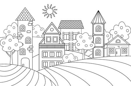 Paysage de vecteur avec maisons et tourelles pour cahier de coloriage Vecteurs