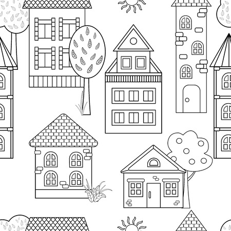 Vector seamless pattern with different houses and towers for coloring books for adults and children