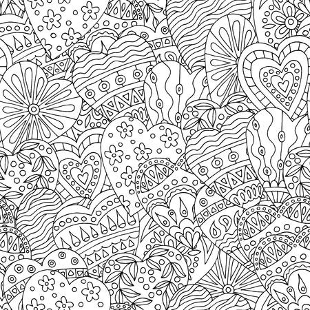 Abstraktes nahtloses Muster mit handgezeichneten Herzen kritzelt zum Ausmalen von Buchseiten zum Valentinstag Valentine Vektorgrafik