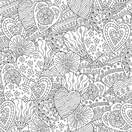 Abstract seamless pattern with hand-drawn hearts doodles for coloring book pages, for Valentines day