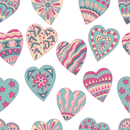 Seamless background of beautiful painted doodle hearts on white background