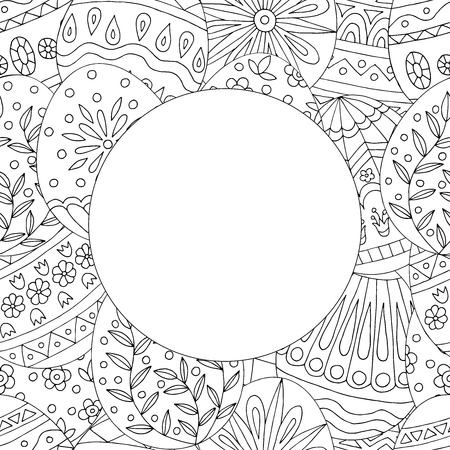 Round frame with abstract pattern of hand drawn easter eggs, doodles for children and adults coloring books Vector Illustration
