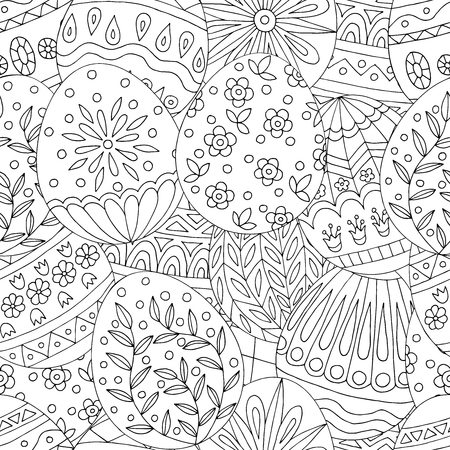 Abstract seamless pattern with hand drawn easter eggs doodles, for coloring book pages