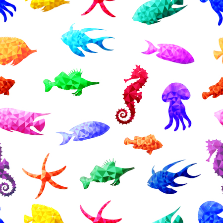 Beautiful vector seamless pattern with colorful sea fish in Low Poly style