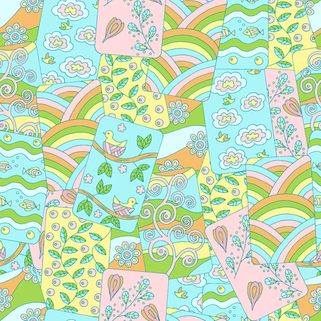 Abstract multi-colored seamless pattern of spring pictures with birds, clouds, branches, flowers, leaves Illustration