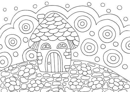 Abstract doodle coloring book with mushroom house, for kids and adults Standard-Bild - 125061966