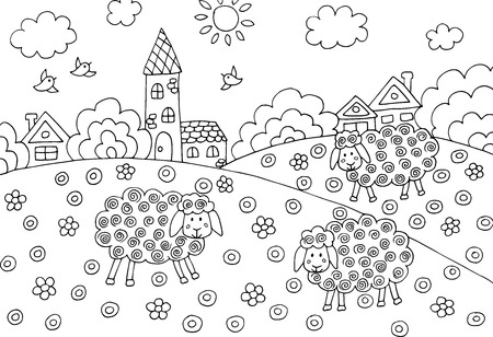 Doodle hand drawing coloring with sheep, houses, field in the village, for children and adults Standard-Bild - 125061967
