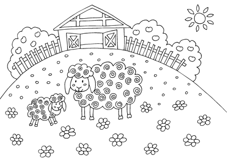 Doodle hand drawing coloring book with sheep, field and barn in the village, for children and adults Standard-Bild - 125061968