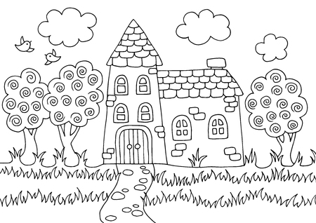 Doodle, hand-drawn anti-stress coloring book with fabulous home, for adults and children