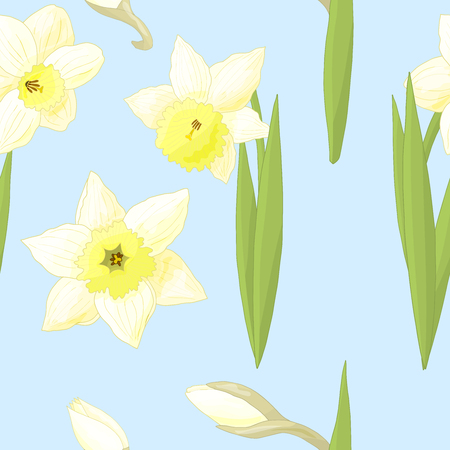 Seamless pattern with spring daffodils flowers on blue background Standard-Bild - 124750857