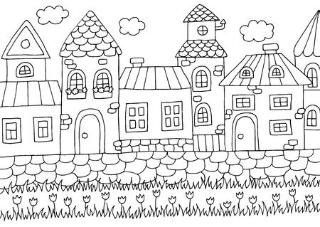 Hand drawn coloring page for kids and adults with old city street and different houses Ilustração