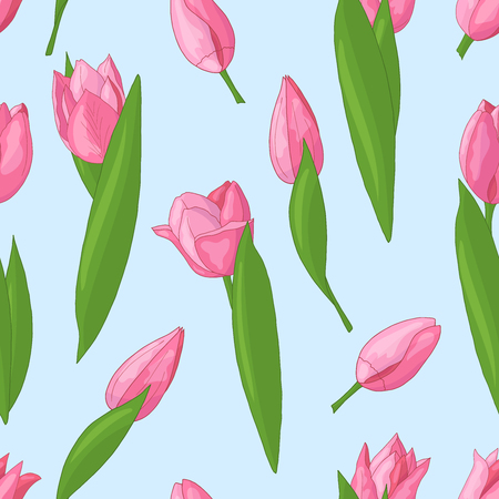 Vector seamless pattern with spring pink tulips on blue background Illustration