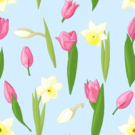 Vector seamless pattern with beautiful pink tulips and white daffodils on blue spring background Standard-Bild - 124736069